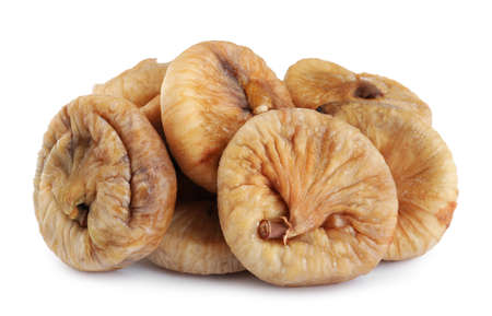 Pile of tasty dried figs isolated on white Archivio Fotografico