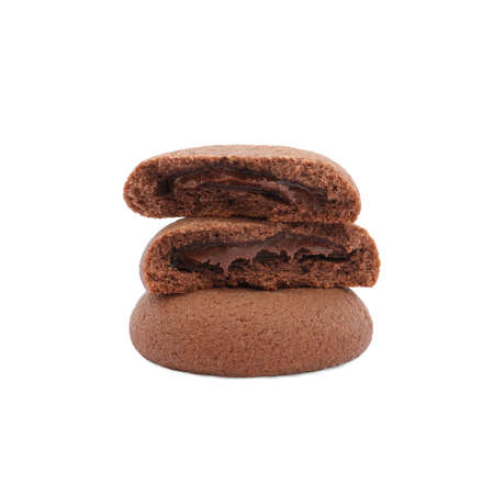 Tasty homemade chocolate cookies on white background Archivio Fotografico - 137771669