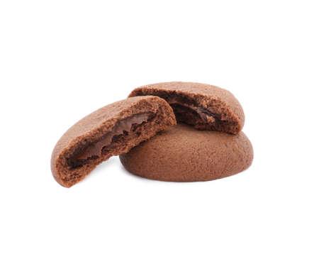 Tasty homemade chocolate cookies on white background Archivio Fotografico - 137772813