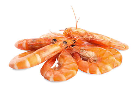 Delicious cooked whole shrimps isolated on white