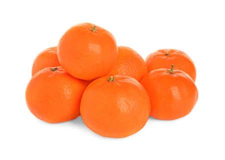 Pile of fresh juicy tangerines isolated on white