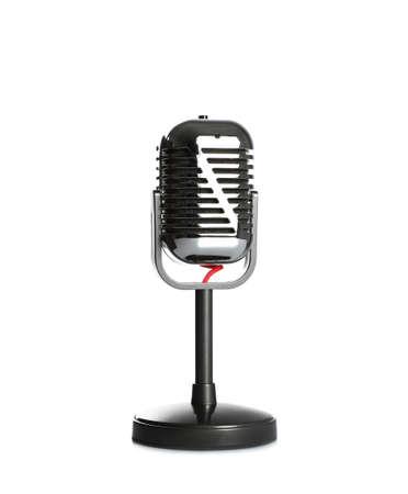 Weinlesemikrofon getrennt auf Weiß. Journalistenausrüstung