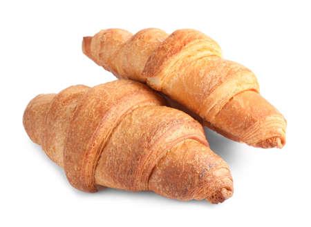 Tasty fresh crispy croissants isolated on white Archivio Fotografico - 137789581