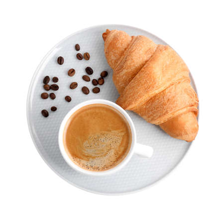 Fresh croissant and coffee on white background, top view Archivio Fotografico - 137788958