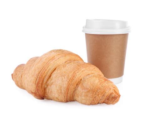 Fresh croissant and coffee on white background Archivio Fotografico - 137791151