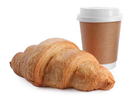 Fresh croissant and coffee on white background Archivio Fotografico - 137790800
