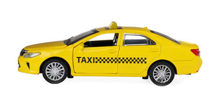 Yellow taxi car model isolated on white 版權商用圖片