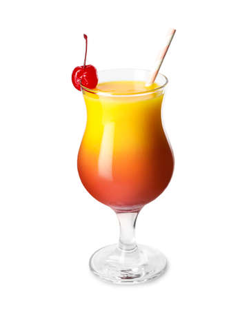 Fresh alcoholic Tequila Sunrise cocktail isolated on white Banque d'images