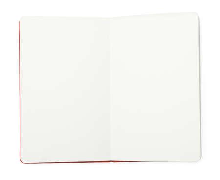 Stilvolles offenes Notizbuch isoliert auf weiß, Ansicht von oben