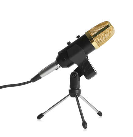 Modern microphone isolated on white. Journalist's equipment Stok Fotoğraf