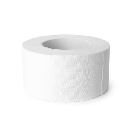 Rollo de yeso adhesivo médico aislado en blanco Foto de archivo