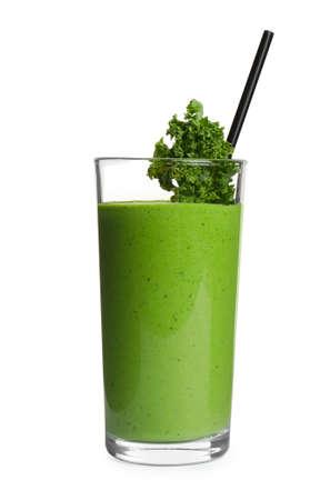 Tasty fresh kale smoothie on white background Stock fotó