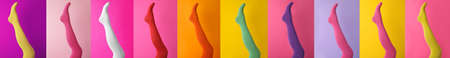 Collage of women wearing different bright tights on color backgrounds, closeup. Banner design