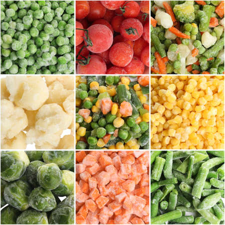 Collage with different frozen vegetables as background