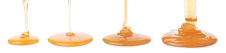 Set of pouring organic honey on white background