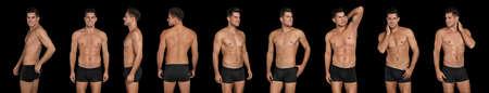Collage of man in underwear on black background. Banner design