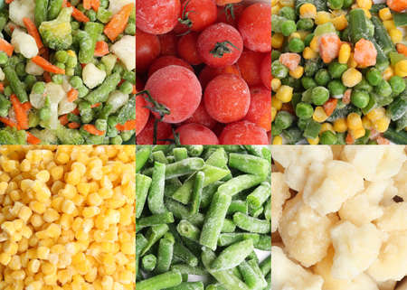 Collage with different frozen vegetables as background, top view Banco de Imagens