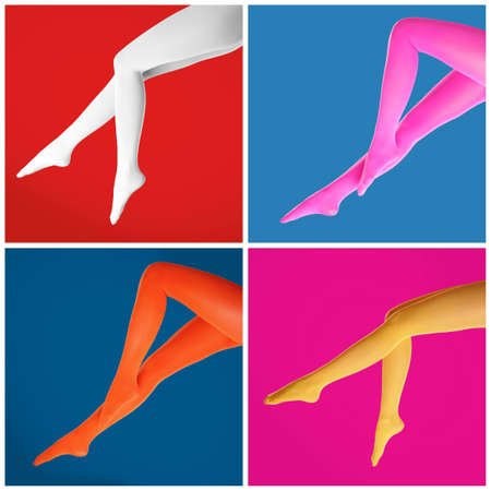 Collage of women wearing different bright tights on color backgrounds, closeup