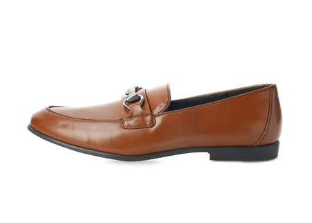 Stylish male shoe isolated on white. Trendy footwear