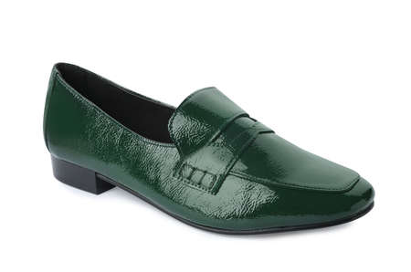Stylish female shoe isolated on white. Trendy footwear