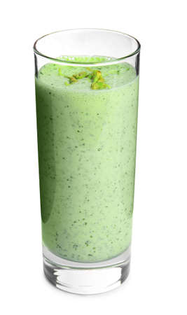 Glass of green buckwheat smoothie isolated on white