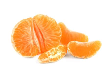 Fresh juicy tangerine segments isolated on white