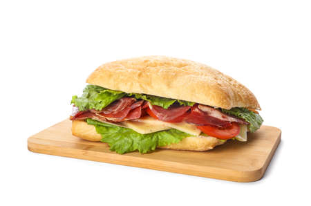 Delicious sandwich with fresh vegetables and prosciutto isolated on white Foto de archivo - 138020623