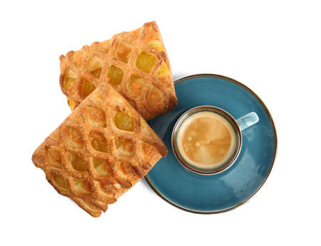 Delicious pastries and coffee on white background, top view Stok Fotoğraf