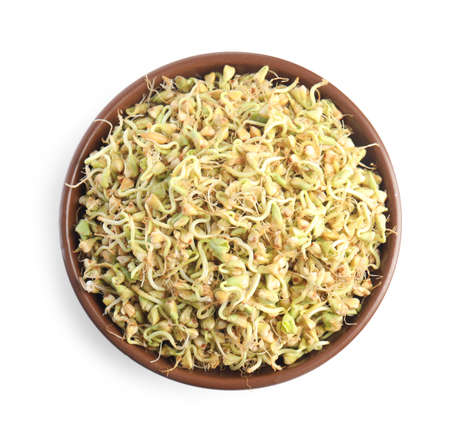 Bowl of sprouted green buckwheat isolated on white, top view