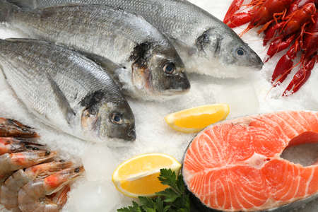Fresh fish and different seafood on ice