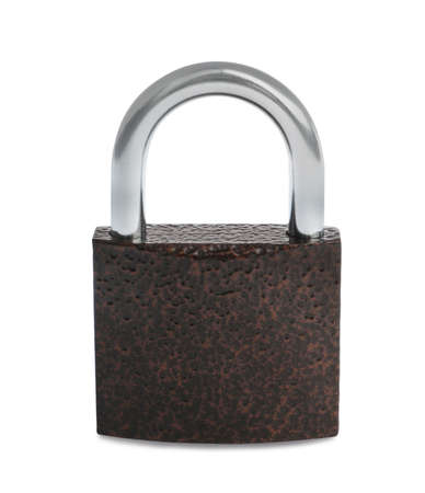 Steel padlock isolated on white. Safety concept Banco de Imagens
