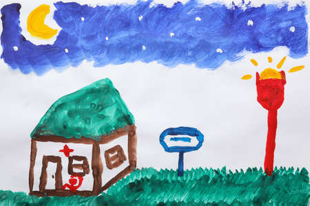 Childs painting of hospital on white paper