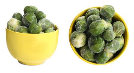 Frozen Brussels sprouts in bowls on white background. Vegetable preservation Banco de Imagens