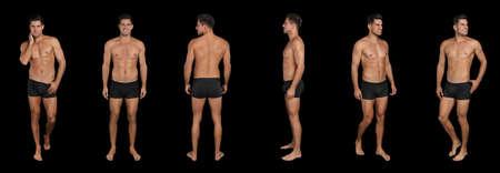 Collage of man in underwear on black background. Banner design Reklamní fotografie