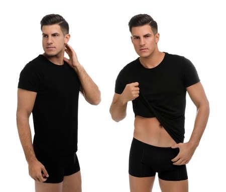 Collage of man in underwear and t-shirt on white background Reklamní fotografie