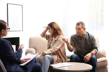 Psychotherapist working with couple in office. Family counselling