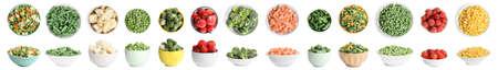 Set of different frozen vegetables on white background. Banner design Banco de Imagens