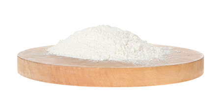Pile of organic flour isolated on white