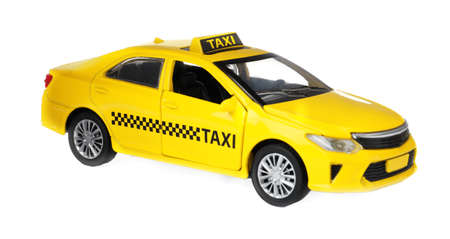Yellow taxi car model isolated on white 写真素材