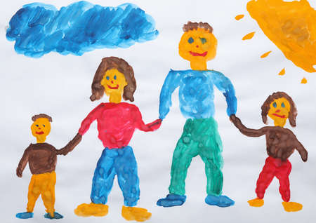 Childs painting of family on white paper