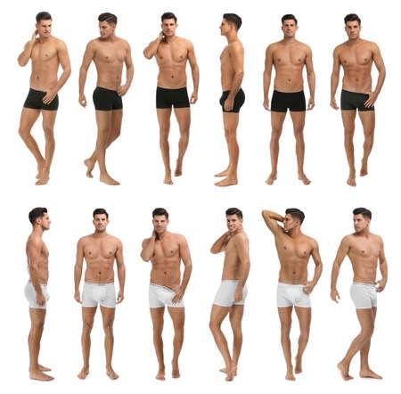 Collage of man in underwear on white background Reklamní fotografie