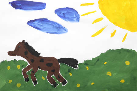 Childs painting of horse in field on white paper