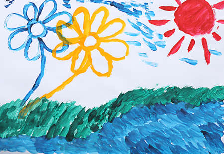 Childs painting of meadow with flowers on white paper
