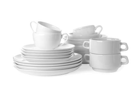 Set of clean tableware isolated on white Stockfoto