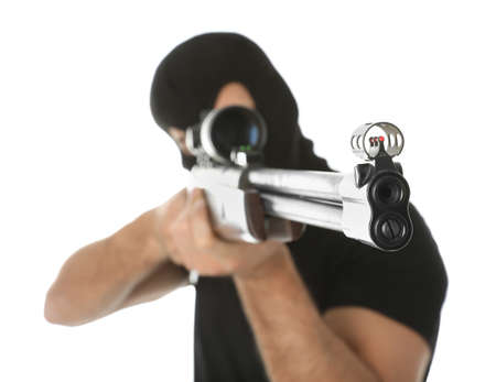 Professional killer with sniper rifle on white background