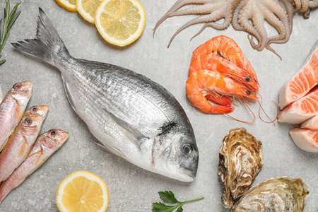 Fresh fish and seafood on light grey table, flat lay