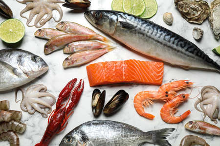 Fresh fish and different seafood on white marble table, flat lay