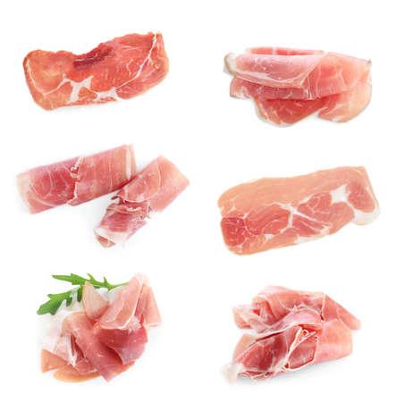 Set of delicious sliced jamon on white background Stock Photo