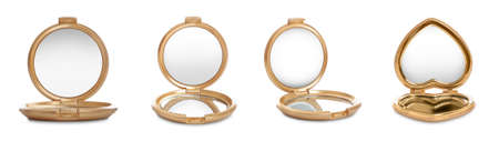 Set of different compact mirrors on white background Banque d'images - 138447073