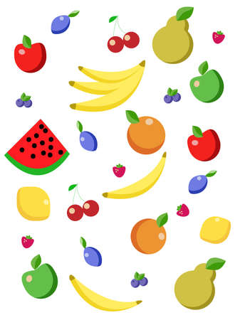 Illustrations of fruits and berries on white background. Nutritionists recommendations